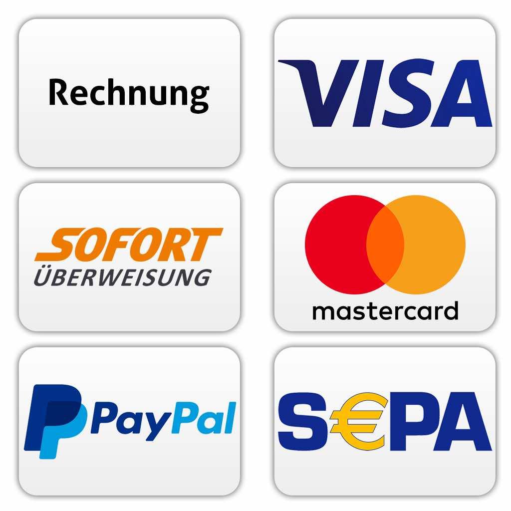 Angabe aller akzeptierten Zahlungsweisen bei Sanapocare